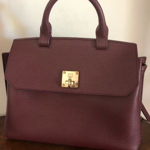 MCM MILLA BAG, HTF burgundy, top handle, EUC